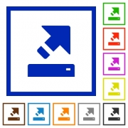 Export flat color icons in square frames on white background - Export flat framed icons