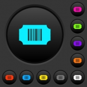 Ticket with barcode dark push buttons with vivid color icons on dark grey background - Ticket with barcode dark push buttons with color icons