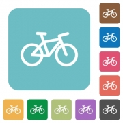 Bicycle white flat icons on color rounded square backgrounds - Bicycle rounded square flat icons