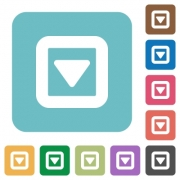 Toggle down white flat icons on color rounded square backgrounds - Toggle down rounded square flat icons
