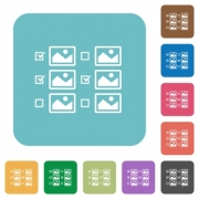 Multiple image selection with checkboxes white flat icons on color rounded square backgrounds - Multiple image selection with checkboxes rounded square flat icons
