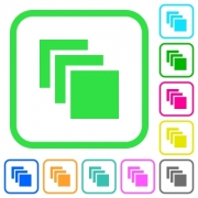 Multiple canvases vivid colored flat icons in curved borders on white background - Multiple canvases vivid colored flat icons
