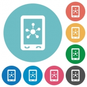 Mobile social networking flat white icons on round color backgrounds - Mobile social networking flat round icons