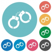 Handcuffs flat white icons on round color backgrounds - Handcuffs flat round icons