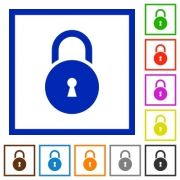 Locked round padlock with keyhole flat color icons in square frames on white background - Locked round padlock with keyhole flat framed icons