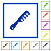 Comb with handle flat color icons in square frames on white background - Comb with handle flat framed icons