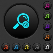 Search photo dark push buttons with vivid color icons on dark grey background - Search photo dark push buttons with color icons
