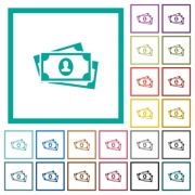 More banknotes with portrait flat color icons with quadrant frames on white background - More banknotes with portrait flat color icons with quadrant frames