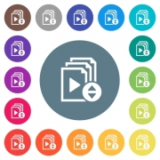 Select playlist item flat white icons on round color backgrounds. 17 background color variations are included. - Select playlist item flat white icons on round color backgrounds