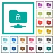 FTP unlock flat color icons with quadrant frames on white background - FTP unlock flat color icons with quadrant frames