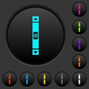Vertical scroll bar dark push buttons with vivid color icons on dark grey background - Vertical scroll bar dark push buttons with color icons