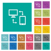 Connecting mobile to desktop multi colored flat icons on plain square backgrounds. Included white and darker icon variations for hover or active effects. - Connecting mobile to desktop square flat multi colored icons