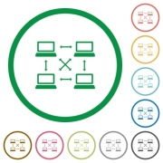 Content delivery network flat color icons in round outlines on white background - Content delivery network flat icons with outlines