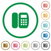 Office phone flat color icons in round outlines on white background - Office phone flat icons with outlines