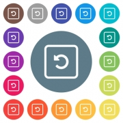 Rotate object left flat white icons on round color backgrounds. 17 background color variations are included.