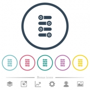 Fine tune flat color icons in round outlines. 6 bonus icons included. - Fine tune flat color icons in round outlines
