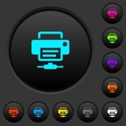 Network printer dark push buttons with vivid color icons on dark grey background - Network printer dark push buttons with color icons