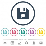 File comment flat color icons in round outlines. 6 bonus icons included. - File comment flat color icons in round outlines
