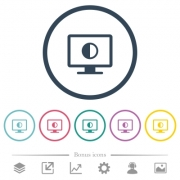 Adjust screen contrast flat color icons in round outlines. 6 bonus icons included. - Adjust screen contrast flat color icons in round outlines