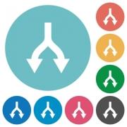Split arrows down flat white icons on round color backgrounds - Split arrows down flat round icons