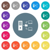 Network file system with server flat white icons on round color backgrounds. 17 background color variations are included. - Network file system with server flat white icons on round color backgrounds