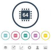 Microprocessor 64 bit architecture flat color icons in round outlines. 6 bonus icons included. - Microprocessor 64 bit architecture flat color icons in round outlines