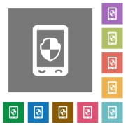 Mobile protection flat icons on simple color square backgrounds - Mobile protection square flat icons
