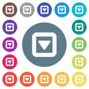 Toggle down flat white icons on round color backgrounds. 17 background color variations are included. - Toggle down flat white icons on round color backgrounds
