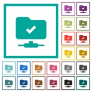 FTP operation successful flat color icons with quadrant frames on white background - FTP operation successful flat color icons with quadrant frames