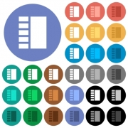 Vertical tabbed layout multi colored flat icons on round backgrounds. Included white, light and dark icon variations for hover and active status effects, and bonus shades. - Vertical tabbed layout round flat multi colored icons