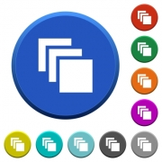 Multiple canvases round color beveled buttons with smooth surfaces and flat white icons - Multiple canvases beveled buttons