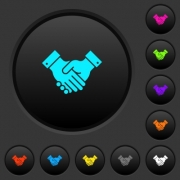Partnership dark push buttons with vivid color icons on dark grey background - Partnership dark push buttons with color icons