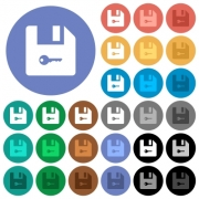 Encrypt file multi colored flat icons on round backgrounds. Included white, light and dark icon variations for hover and active status effects, and bonus shades. - Encrypt file round flat multi colored icons