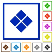 Diagonal tile pattern flat color icons in square frames on white background - Diagonal tile pattern flat framed icons