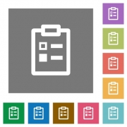 Survey flat icons on simple color square backgrounds - Survey square flat icons