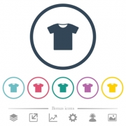 T-shirt flat color icons in round outlines. 6 bonus icons included. - T-shirt flat color icons in round outlines