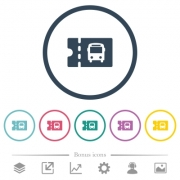 Public transport discount coupon flat color icons in round outlines. 6 bonus icons included. - Public transport discount coupon flat color icons in round outlines