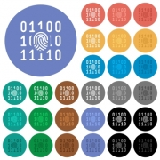 Digital fingerprint multi colored flat icons on round backgrounds. Included white, light and dark icon variations for hover and active status effects, and bonus shades. - Digital fingerprint round flat multi colored icons