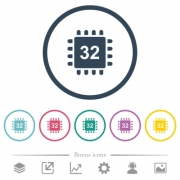Microprocessor 32 bit architecture flat color icons in round outlines. 6 bonus icons included. - Microprocessor 32 bit architecture flat color icons in round outlines