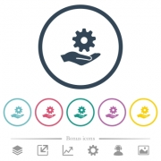 Maintenance service flat color icons in round outlines. 6 bonus icons included. - Maintenance service flat color icons in round outlines