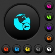 Secure internet surfing dark push buttons with vivid color icons on dark grey background - Secure internet surfing dark push buttons with color icons