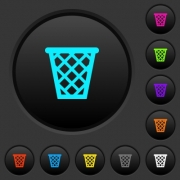 Trash dark push buttons with vivid color icons on dark grey background - Trash dark push buttons with color icons