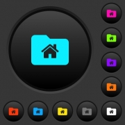 Home folder dark push buttons with vivid color icons on dark grey background - Home folder dark push buttons with color icons