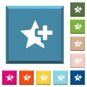 Add star white icons on edged square buttons in various trendy colors - Add star white icons on edged square buttons
