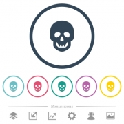 Human skull flat color icons in round outlines. 6 bonus icons included. - Human skull flat color icons in round outlines
