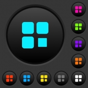 Component stop dark push buttons with vivid color icons on dark grey background - Component stop dark push buttons with color icons