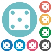 Domino five flat white icons on round color backgrounds - Domino five flat round icons