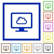 Cloud computing flat color icons in square frames on white background - Cloud computing flat framed icons