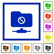 FTP disabled flat color icons in square frames on white background - FTP disabled flat framed icons