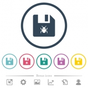 Infected file flat color icons in round outlines. 6 bonus icons included. - Infected file flat color icons in round outlines